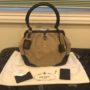 PRADA Logo Brown Jacquard Gamaguchi Canvas Bag